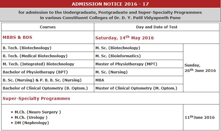 dy patil admission 2016